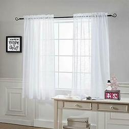NICETOWN Sheer Curtains for Small Window - Kitchen Linen W52