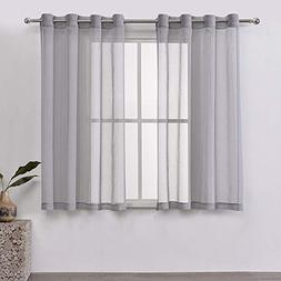 DWCN Sheer Curtains Grey Faux Linen Voile Sheer Bedroom Curt