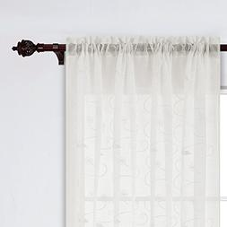 Deconovo Sheer Floral Embroidered Curtains Faux Linen Curtai