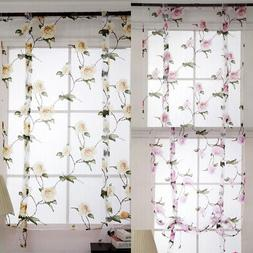 Sheer Floral Roman Shades Drapes Height Adjustable Kitchen B