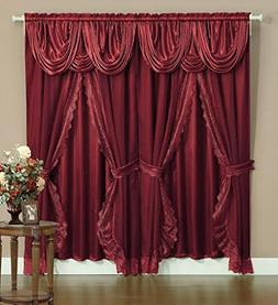 Sheer & Lace Victorian Window Curtain Set w/Satin Valance &