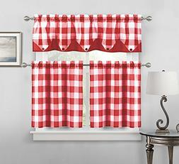Sheer Small Red and White Three Piece Kitchen/Cafe Tier Wind