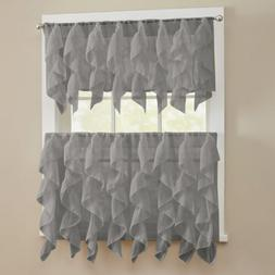 Sheer Voile Vertical Ruffle Window Kitchen Curtain Tiers or