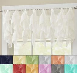 "Sheer Voile Vertical Ruffle Window Kitchen Curtain 12"" Valan"