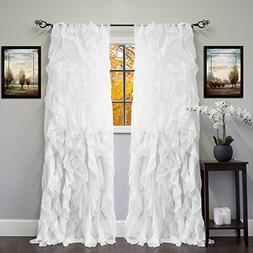 Sweet Home Collection Sheer Voile Vertical Ruffled Window Cu