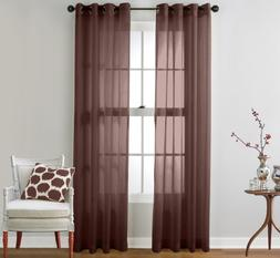 HLC.ME 2 Piece Semi Sheer Voile Window Curtain Grommet Panel