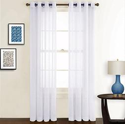 NICETOWN Sheer Curtains 84 inches Long - Crushed Sheer Windo