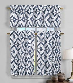 3 Piece Sheer Window Curtain Set: Geometric Design, 2 Tiers,