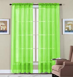 WPM  60 x 63-Inches Sheer Window Elegance Curtains/drape/pan
