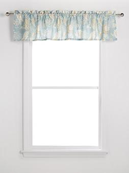 Natural Shells Starfish Coral Print on Blue Window Valance C