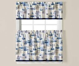 Living Colors Ships Lighthouses Anchors Kitchen Curtain Set