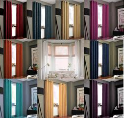 2PC HEAVY THICK SOLID GROMMET PANEL WINDOW CURTAIN DRAPES BL