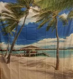Ambesonne Shower Curtain, Exotic Beach Water and Palm Tree b