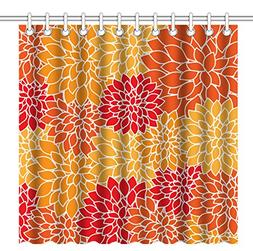 Wknoon 72 x 72 Inch Shower Curtain, Abstract Red Yellow and