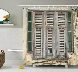Ambesonne Shutters Decor Collection, Aged Weathered Wooden W