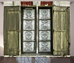 Ambesonne Shutters Decor Collection, European French Window