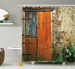 Shutters Decor Shower Curtain Set by Ambesonne, Old Fashion