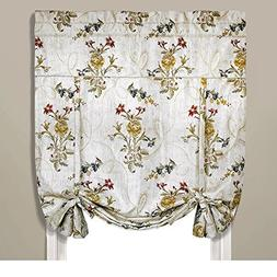 Single Piece Jewel Floral White Tie-Up Shade, Curtain, Beaut