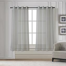 Sleek Sheer Voile Panels Solid Window Curtain Draperies for