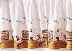 Small Windows Curtains Set:2 Tiers & Swag Dancing Fat Chefs,