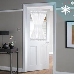 White French Door Panel Curtains for Living Room Snow White