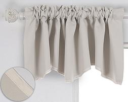 Deconovo Solid Color Blackout Short Curtains Scalloped Valan