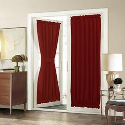 Aquazolax French Door Curtain Panels for Privacy Solid Black