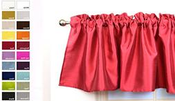 Aiking Home Solid Faux Silk window Valance, Red-Size 56''x16