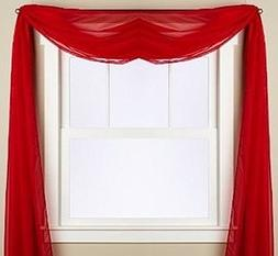 Gorgeous Home 1 PC SOLID RED SCARF VALANCE SOFT SHEER VOILE
