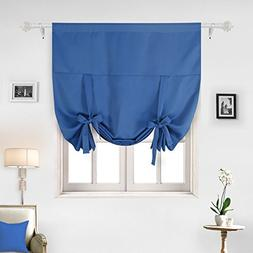 Deconovo Solid Color Rod Pocket Blackout Window Curtain Tie