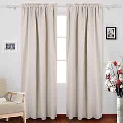Deconovo Solid Rod Pocket Curtains Blackout Window Curtains