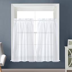 Dreaming Casa Solid Sheer Kitchen Curtains Valance Tier Curt