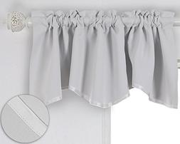 Deconovo Solid Color Short Curtains Scalloped Valance Rod Po