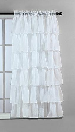 Solid WHITE Gypsy Ruffle Sheer - Crushed Voile Shabby Chic W