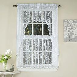 Songbird Lace Kitchen Tier Curtain Pair, 56W x 36L, White