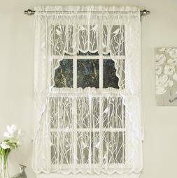 Songbird sheer lace kitchen curtain collection - Ivory