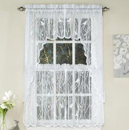 Songbird sheer lace kitchen curtain collection - White