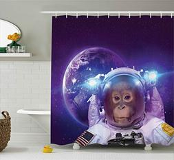 Space Decor Shower Curtain by Ambesonne, Astronaut Monkey on