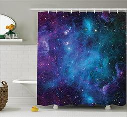 Ambesonne Space Decorations Shower Curtain Set, Galaxy Stars