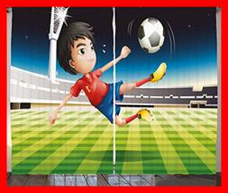 Ambesonne Sports Curtains Young Boy Playing Football In The
