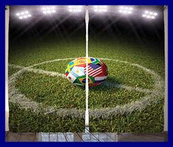 Ambesonne Sports Decor Collection A Soccer Ball On Field Pri