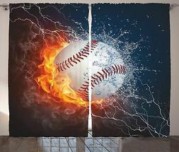 Ambesonne Sports Decor Collection, Baseball Ball on Fire and