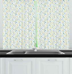 Spring Garden Kitchen Curtains 2 Panel Set Window Drapes 55""