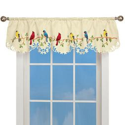 Collections Etc Spring Valance Curtain - Beautiful Birds on
