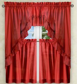 Stacey Solid Kitchen Curtain Collection - Red {NEW} !