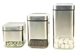 Home Fashions Stainless Steel Glass Storage Canisters Set of