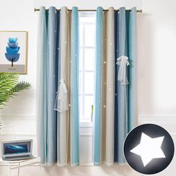 Hughapy Star Curtains Stars Blackout Curtains for Kids Girls