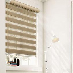 Chicology Free-Stop Cordless Zebra Roller Shades Dual Layer