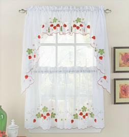 Strawberries Embroidered Kitchen Curtain Collection - Brand