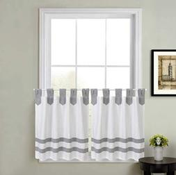 Acadia Striped 36-Inch Kitchen Window Curtain Tier Pair in G